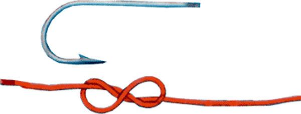 Привязывание крючка простым узлом