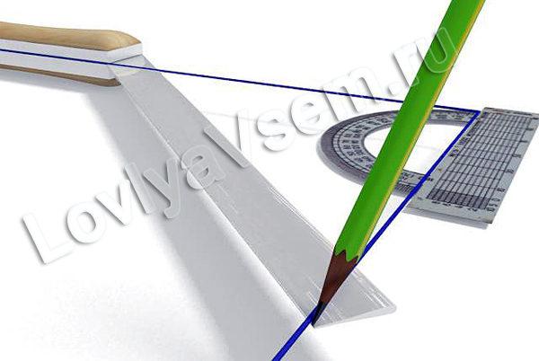 Разметка линии отреза под шип